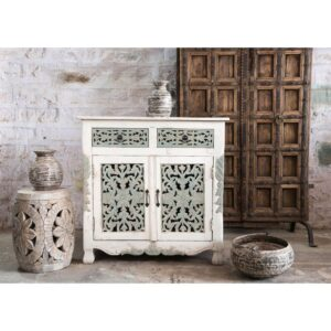 WHITE GREY HAND CARVED SIDEBOARD