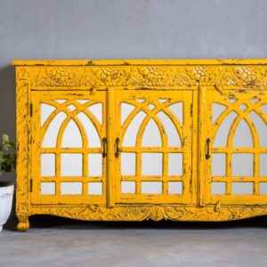 YELLOW CARVED SIDEBOARD WITH MIRROR ON DOORS