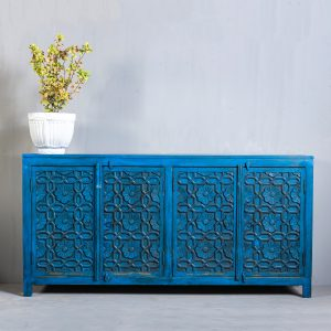 blue sideboard buffet table