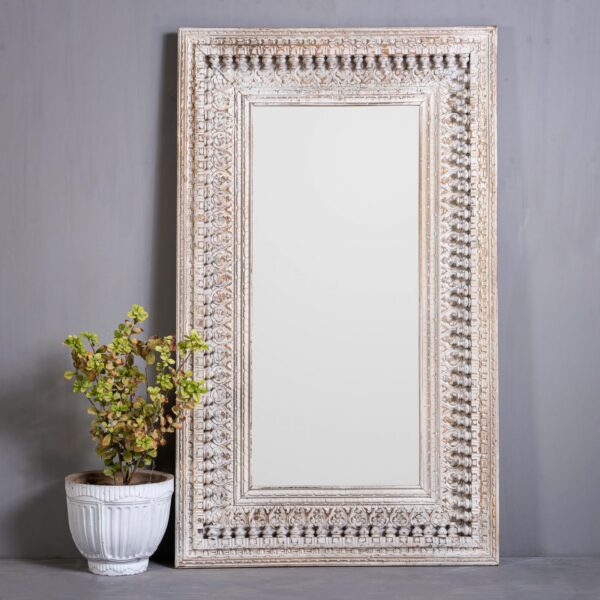 CARVED SPINDLE MIRROR
