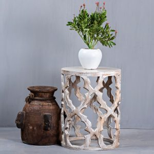 CARVED ROUND STOOL