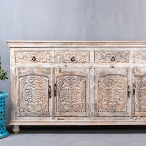 CARVED INDIAN SIDEBOARD WITH DRAWERS