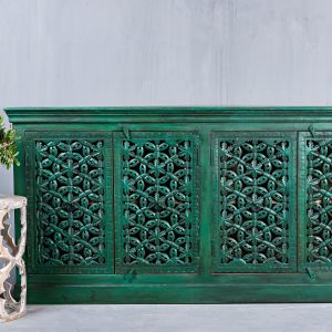 CARVED GREEN SIDEBOARD