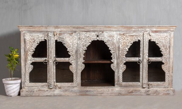 CARVED INDIAN SIDEBOARD WITH DISPLAY SHELF