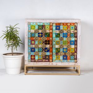 HAND PAINTED TILE SIDEBOARD
