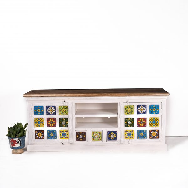 BROWN TOP HAND PAINTED TILE TV CABINET
